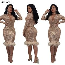Xnxee 2019 Vestidos New Sexy Sheath Solid Full Lace Dress Winter Women Dresses Fashion Slim Party S-XL