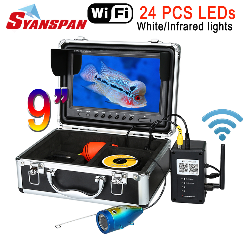 SYANSPAN 9 ''caméra vidéo sans fil WiFi détecteur de poisson pour Android/IOS IP68 HD 1000TVL sondeurs de pêche sous-marine 24 led blanches