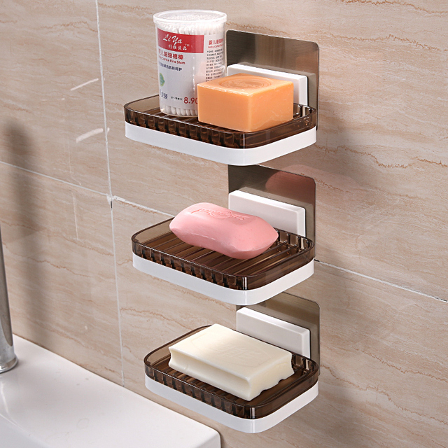 Bathroom wall hanging soap dish rack free punching suction cup soap shelf multi-layer soap box draining soap rack