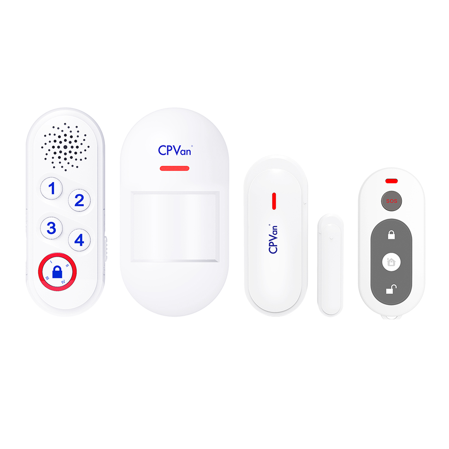 CPVan Home Alarm System Wireless Burglar Alarm System with Siren unit 1 Window Door Sensor, 1 PIR Motion Sensor, remote control