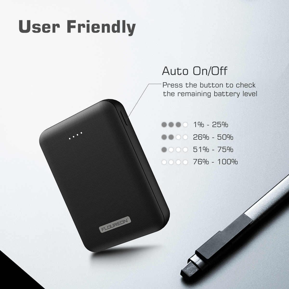 Floureon ультра мини 10000 мА/ч, Мощность номер телефона банка Комплекты внешних аккумуляторов Портативный DC5V 3.4A Выход Dual USB Зарядное устройство для iPhone Xs