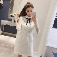 Hot Sale Female Sweet Turn Down Collar Mini Dress Spring Patchwork Lace White Dresses