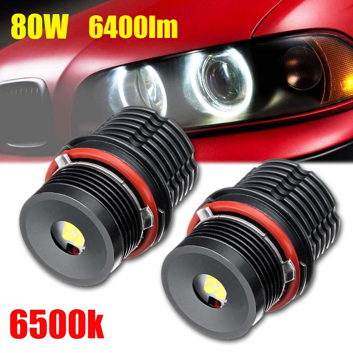 New 2pcs 80W Light Bulbs For BMW E39 E53 E63 Angel Eyes Error Free LED Halo Ring Durable Car Sight Head Light Accessories
