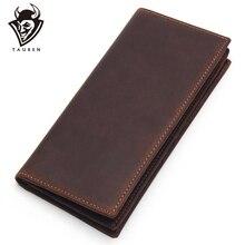 Erkek uzun çılgın at deri deri cüzdan s erkekler hakiki deri cüzdan debriyaj Vintage erkek çanta deri çanta cüzdan