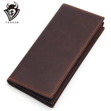 Mens Long Crazy Horse Leather Wallets Men Genuine Wallet Clutch Vintage Male Purse