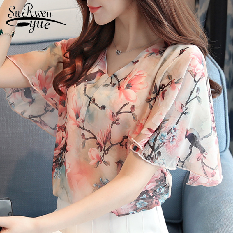 2019 fashion printing chiffon women   blouse     shirt   short sleeve plus size women's clothing sweet v-neck women tops blusas D630 30