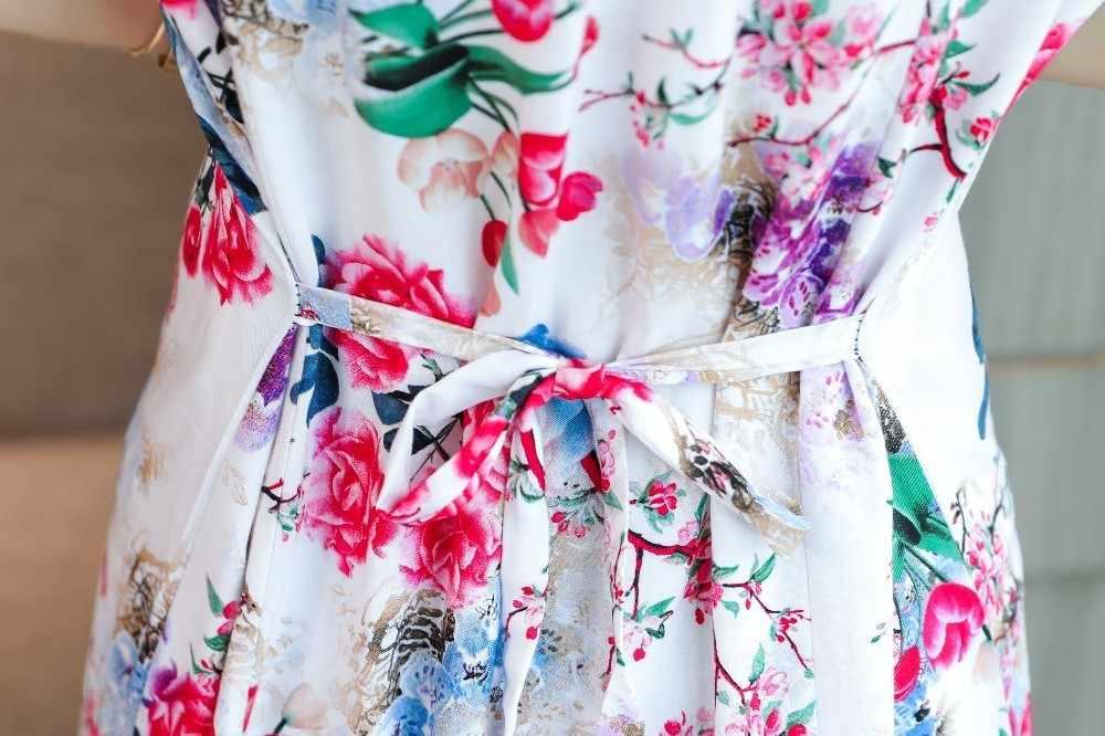 Xl-5xl 2019 נשים הדפסת שמלות ארוך מקרית O-צוואר כותנה שמלה קצר שרוולים אמצע עגל בתוספת גודל Loose Vestidos בגדים