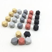 100 sztuk silikonowe koraliki ząbkowanie sześciokąt 13mm naszyjnik do żucia Diy ocena biżuteria Bpa bezpłatne gryzak koraliki dla dziecka drewniane