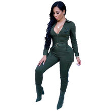 Womens Jumpsuits V Neck Skinny Size Plus Army Bodycon Clubwear Party With Sashes 2018 New Solid Fashion Jumpsuits Rompers Long(China)