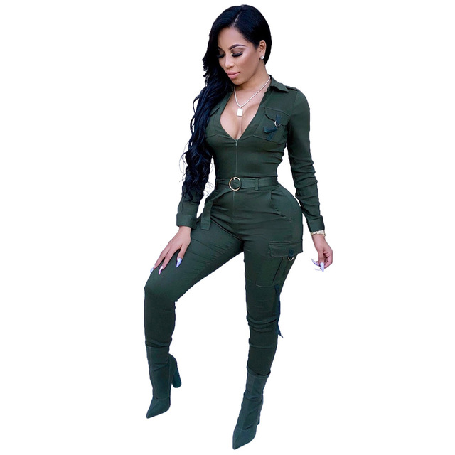 811b8fcc181c Womens Jumpsuits V Neck Skinny Size Plus Army Bodycon Clubwear Party With  Sashes 2018 New Solid Fashion Jumpsuits Rompers Long