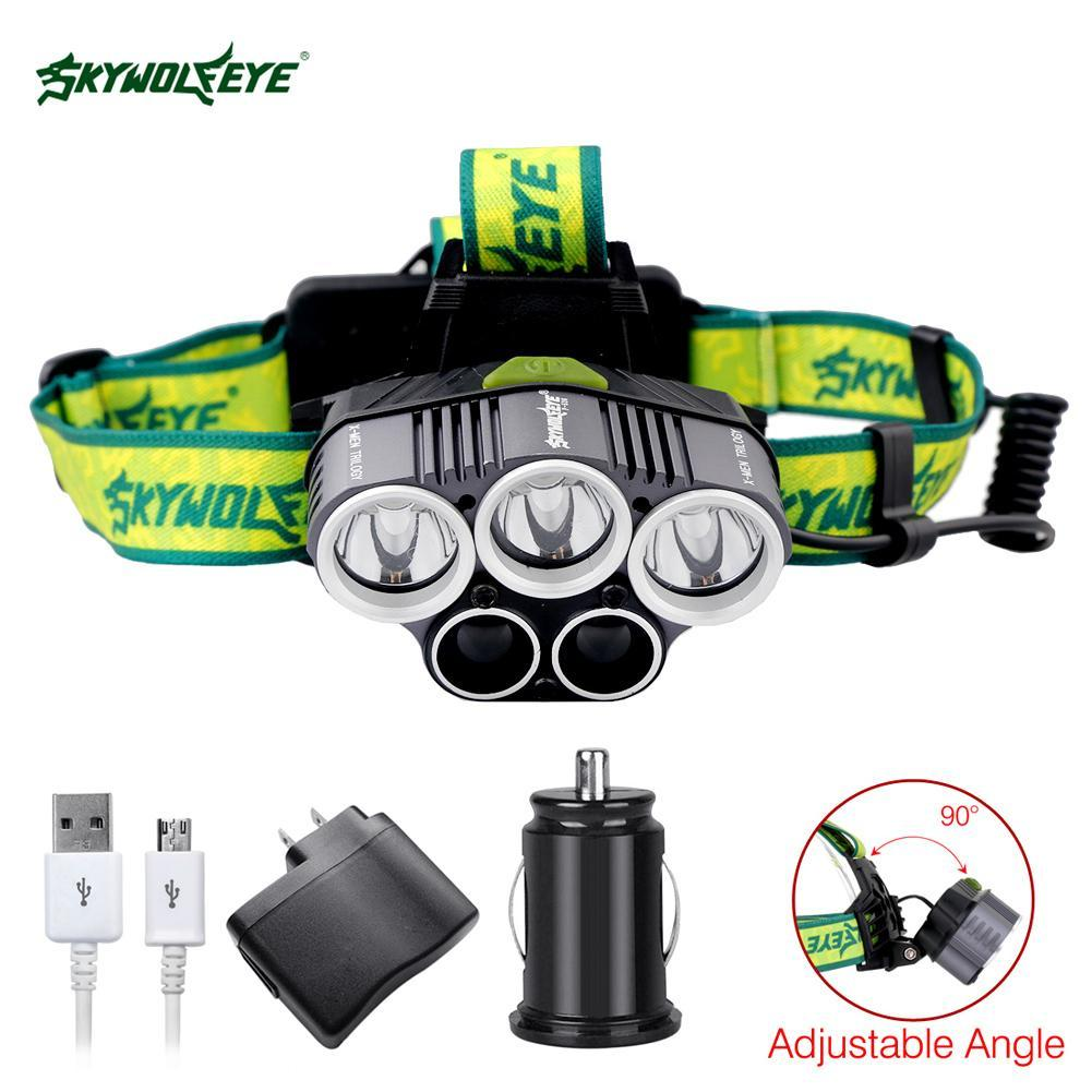 SKYWOLFEYE 5 LED USB Headlight <font><b>32000</b></font> <font><b>Lumens</b></font> 5 Modes Camping Torch With 2PCS 18650 Battery+ 2 Ports USB Car Charger+ Cable image