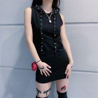 Summer Sexy Club Punk Black Gothic Harajuku Women Mini Dresses Hip Hop Bodycon Hooded Rivet Solid Female Fashion Short Dress
