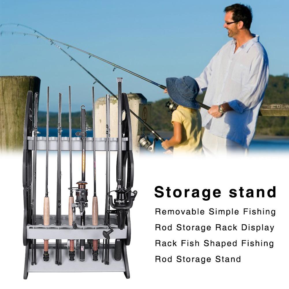 Nouvelle haute qualité Portable amovible Simple canne à pêche stockage Rack présentoir en forme de poisson canne à pêche stockage Stand conception