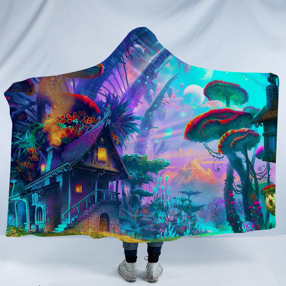 Hooded Blanket Cloak Magic Siesta Wear Dream Fairy Tale 3D Printed Pattern Adults Kid Warm Wearable Fleece Throw Blankets