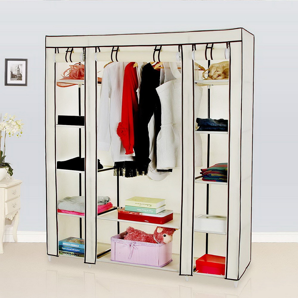 Portable Beige Clothes Closet Wardrobe Storage Organizer with Non-Woven Fabric Cover Assemble for Easy Installation non woven fabrics hanging type 18 cd dvd card holder beige