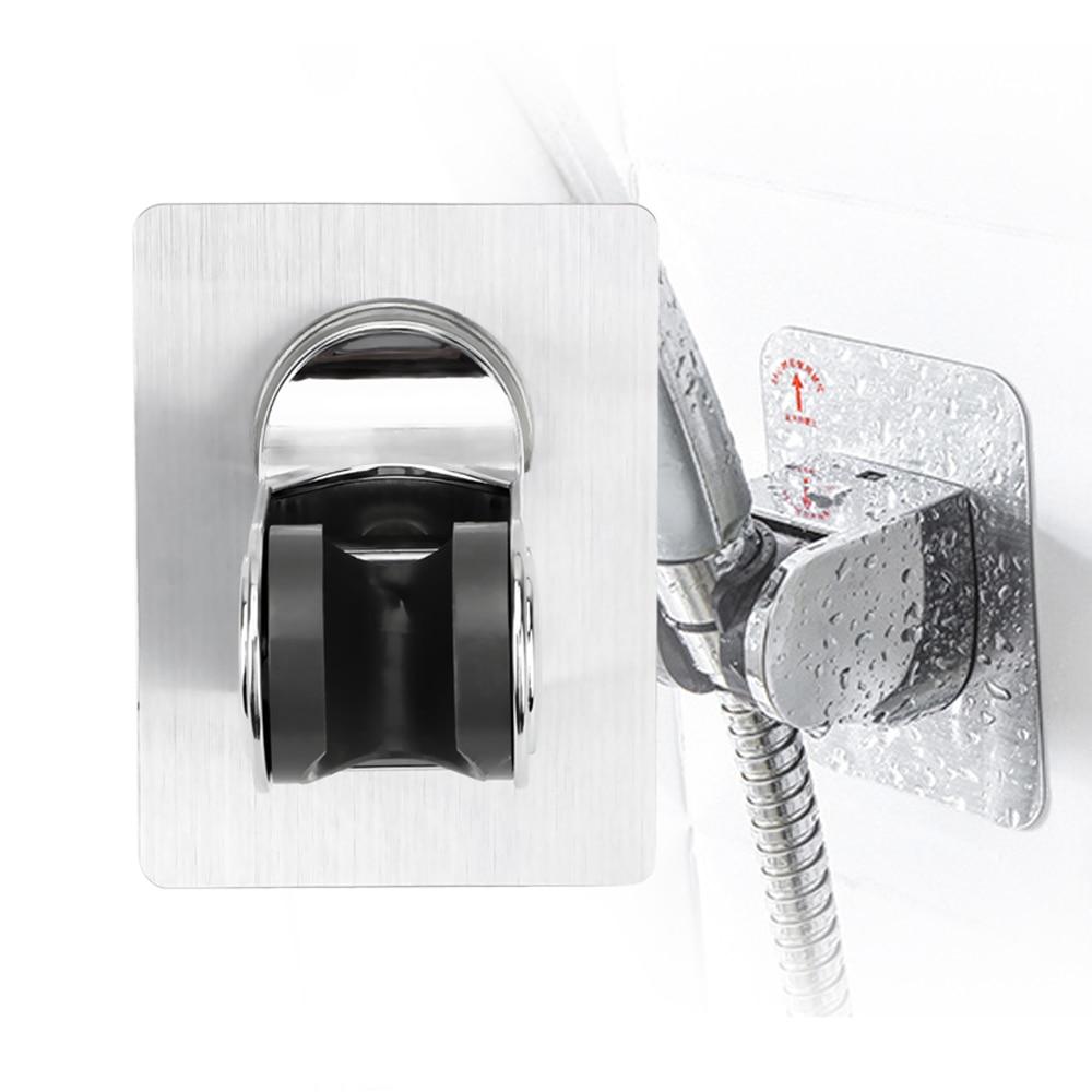 Seamless Shower Head Base Wall Mount Shower Bracket Punch Free Bathroom Hook Adjustable