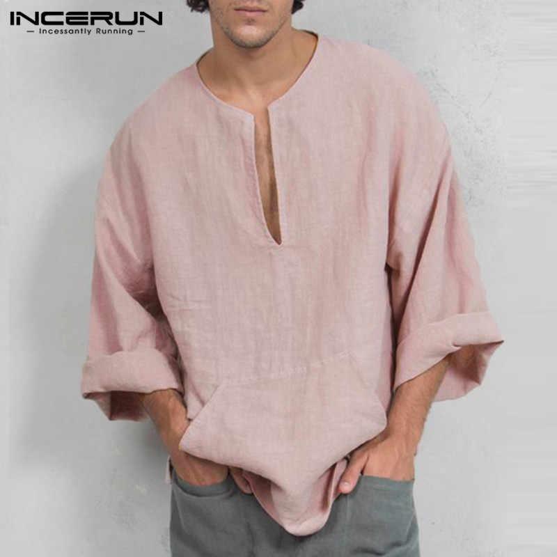 INCERUN 秋メンズ長袖 Tシャツカジュアルルーズフィットディープ V ネックメンズ Tシャツチュニック Camisas メンズ服トップス