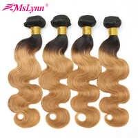Paquets de vague de corps Ombre cheveux brésiliens armure paquets cheveux humains miel Blonde 3/4 paquets 2 tons couleur T1B/27 Non Remy Mslynn