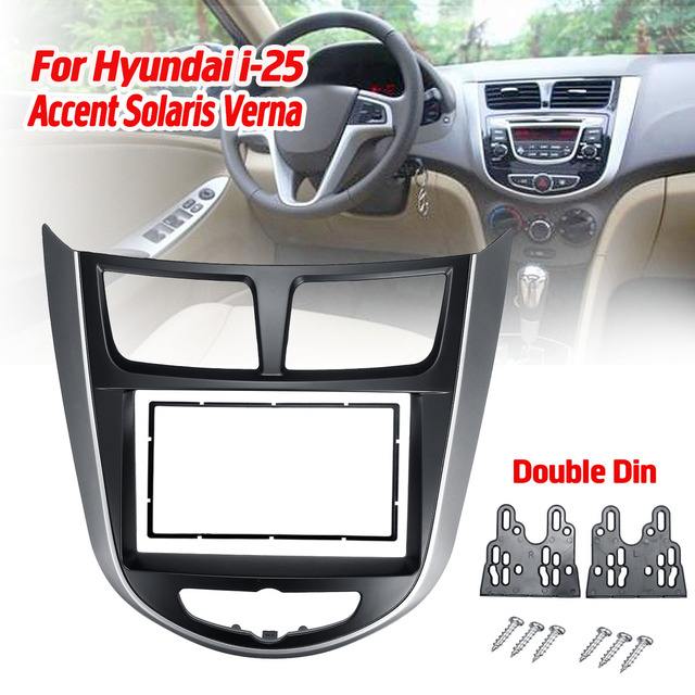 2 DinรถสเตอริโอวิทยุDVD CD GPSแผงกรอบFasciasสำหรับHyundai I 25 สำหรับAccent Solaris verna