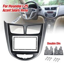 Autorradio 2 Din con marco y GPS para coche, Radio Estéreo, DVD, CD, placa de Panel, Fascias, repuesto para Hyundai i 25, Accent Solaris Verna