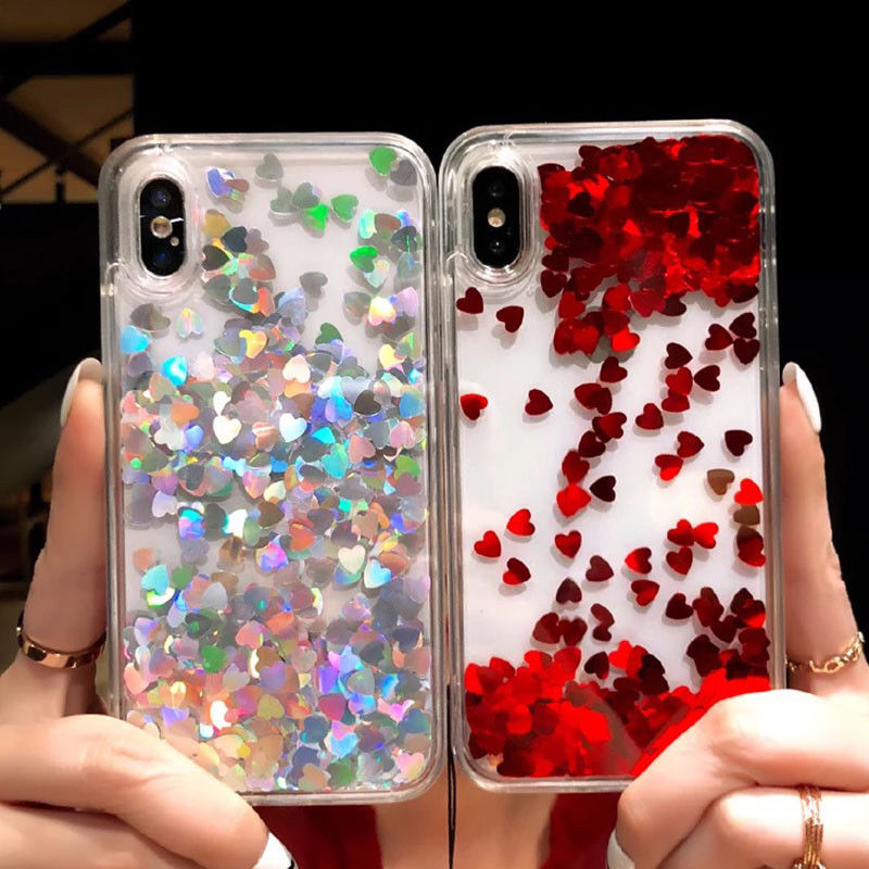 Cute Love Heart Glitter Moving Quicksand Liquid Case Cover For iPhone XS Max XR X 7 8 6 6S Plus Transparent Glitter Phone Cases