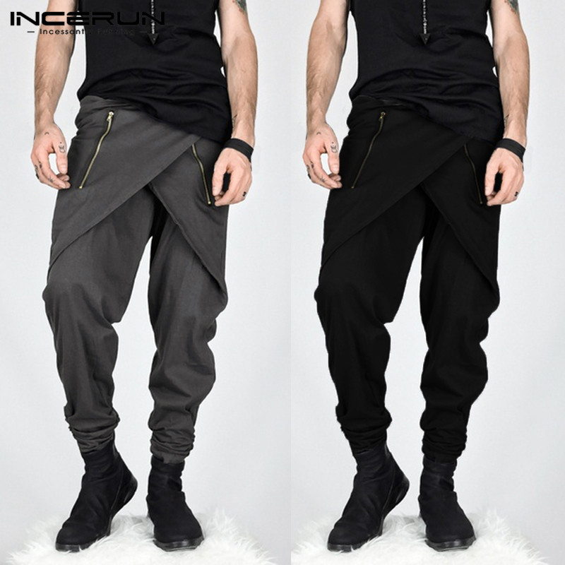 2020 Punk Hiphop Harem Pants Men Skirt Pants Male Irregular Zipper Decor Streetwear Sweatpants Slim Fit Pantalon Hombre Men Pant
