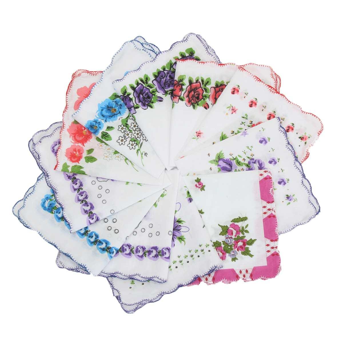 20 Teile/los Baumwolle Blume Platz Taschentuch Für Frauen Schöne Welle Krempe Blumen Hanky Taschentücher Damen Stickerei Hand Handtuch