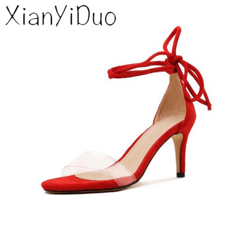 Xianyiduo2019 летняя модная пикантная женская обувь винно Красные босоножки с закрытой пяткой, прозрачный высокий каблук, большие размеры 40 46, отк...