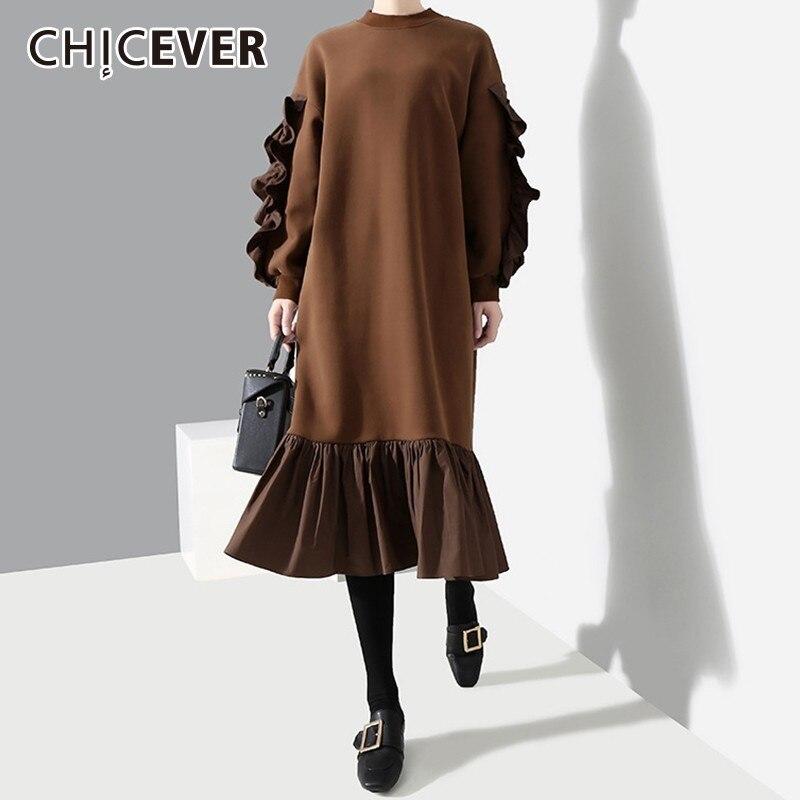 CHICEVER Autumn Winter Vintage Dress For Women O Neck Lantern Sleeve Loose Warm Midi Dresses Korean Fashion Clothing New