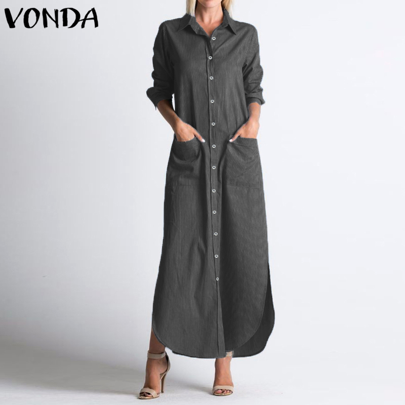 VONDA Long Shirt Dress Women 2019 Autumn Casual Lapel Neck Long Sleeve Party Dress Sexy Buttons Split Striped Vestidos Plus Size