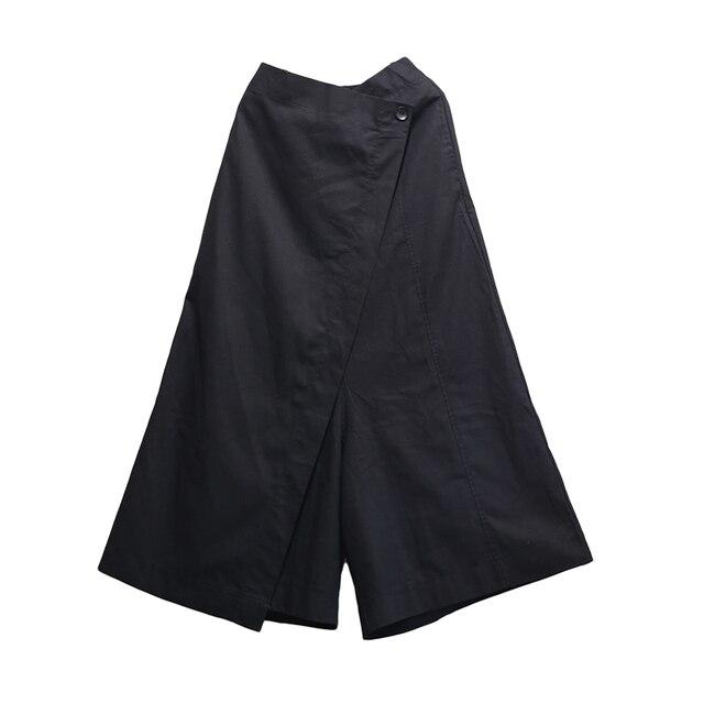 [EWQ] 2019 Spring New Women High Waist Patchwork Button Loose Long Pants Female Clothing Vintage Wide Leg Pants Fashion AA344