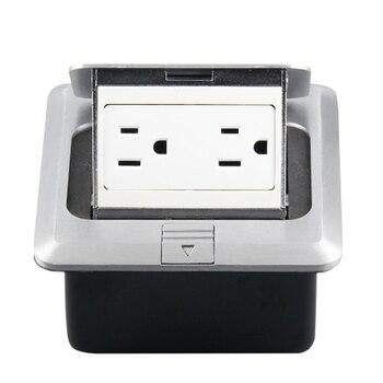 120 Type Aluminium Zilver Panel Us Standard Pop Up Floor Socket Elektrische Dubbele Outlets Met Cover Montage Box (Us plug)