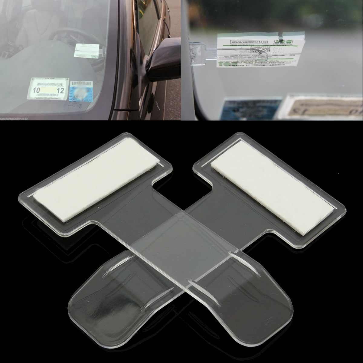 2 stks/set Auto Voertuig Parking Ticket Vergunning Houder Clip Sticker Voorruit Venster Fastener Stickers Kit Auto Styling Accessoires