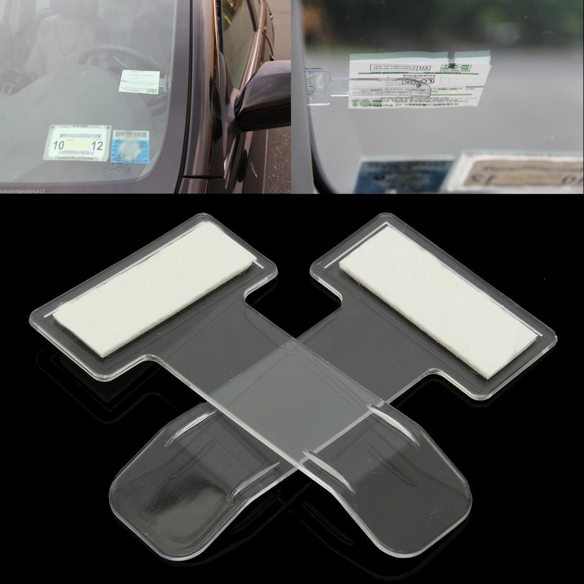 2pcs/set Car Vehicle Parking Ticket Permit Holder Clip Sticker Windscreen Window Fastener Stickers Kit Car Styling Accessories