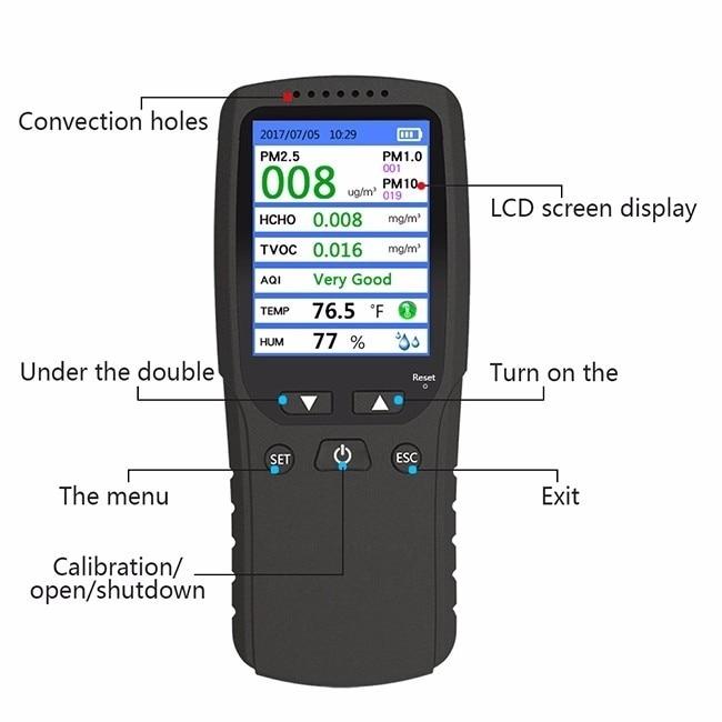 Nuovo 8 in 1 PM1.0 PM2.5 PM10 Monitor TVOC HCHO Formaldeide Rivelatore di Umidità di Temperatura del Tester Qualità Dell'aria Monitor Analizzatore di Gas