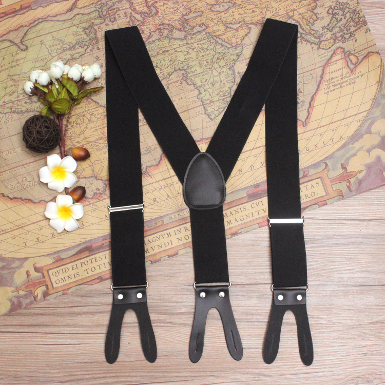 5.0*120cm Genuine Leather Suspenders Casual Elastic Braces Fashion Buttons Suspensorio Trousers Belt Strap Father/Husband's Gift