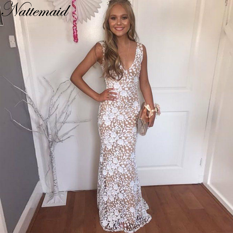 NATTEMAID Backless 2019 Long Maxi Dresses Women Evening Party White Dress Elegant Mesh Sexy V Neck Sequin Dress Summer Vestidos