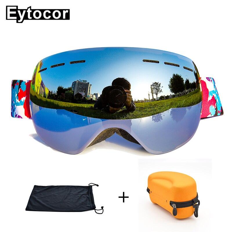 EYTOCOR Top Vente UV400 cagoule Lunettes avec Magnétique Rapide-changement 2 dans 1 Lentille Anti-brouillard Ski Motoneige lunettes masque anti neige - 5