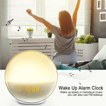 LED Clock Wake Up Light Alarm Sunrise Sunset Simulation Digital With FM Radio
