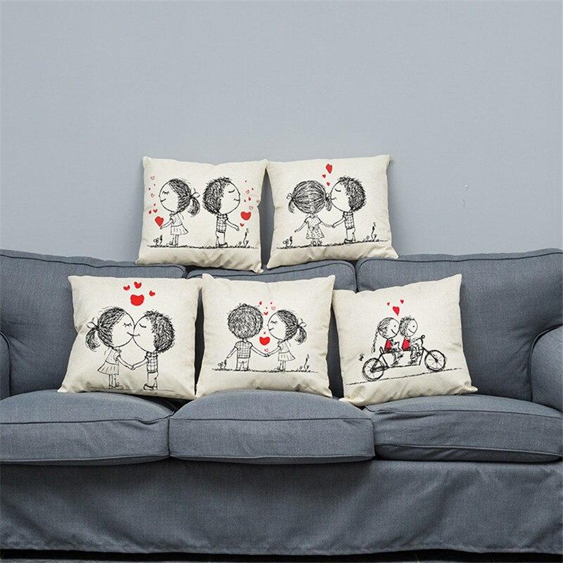 Cartoon Lovers Stamp Minimalist Decorative Cotton Linen Cushion Cover 45x45cm For Sofa Chair Pillowcase Home Decor Almofada 05