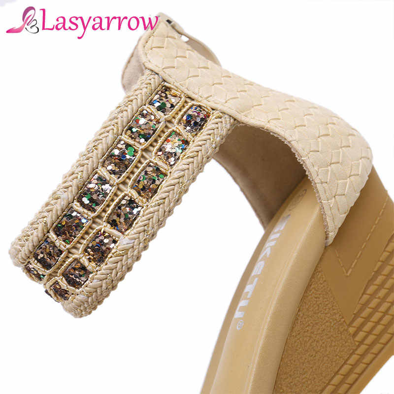 ... Lasyarrow Women Sandals 2019 New Female Shoes Woman Summer Wedge  Comfortable Sandals Ladies Flat Sandals Women ... 11addf6a0023