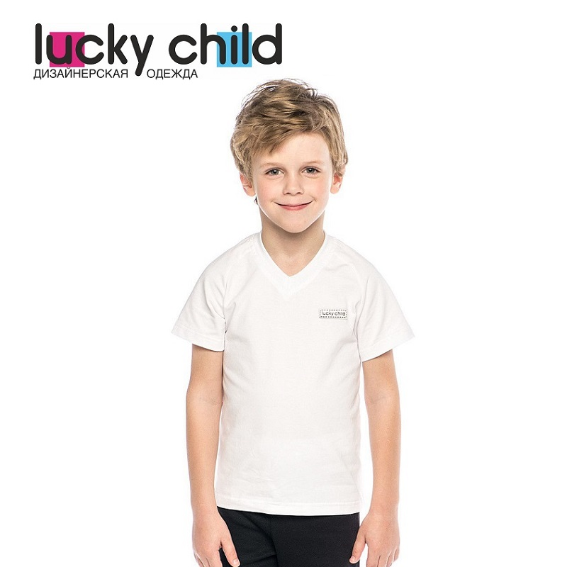 T-Shirts Lucky Child for boys 131-262k (3T-8T) Top Kids T shirt Baby clothing Tops Children clothes kids outfits letter pattern t shirts in white