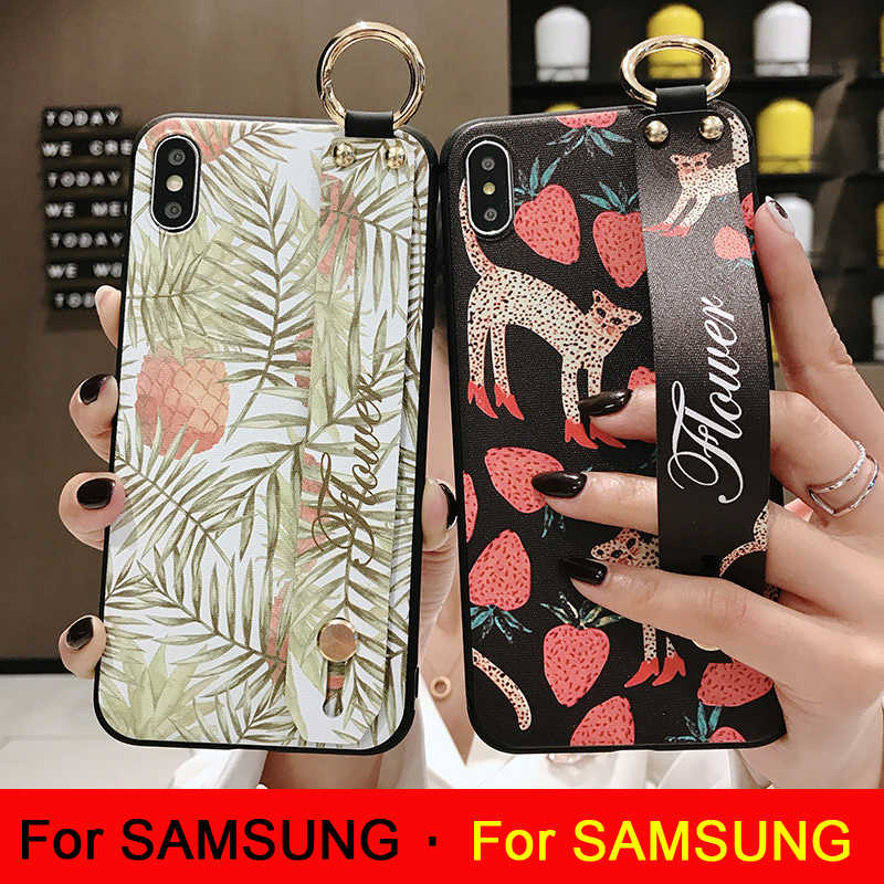 Phone Holder Case For Samsung Galaxy Note 10 8 9 S8 S9 S10 plus S10e Flower Soft Silicone Wrist Strap support Case Back Cover