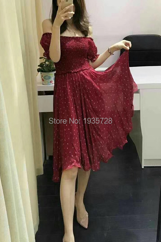 Top Quality Viscose Burgundy Print Beach Dress With Elastic Bust & Elastic Waist - 2019 New Women/Ladies Vacation Dress