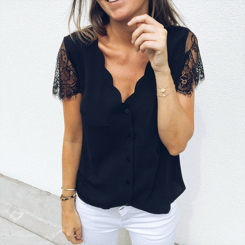 Women Loose Lace   Blouse     Shirt   Ladies Summer Short Sleeve Casual Top V Neck Costume Solid Clothes blusas mujer de moda 2019 New