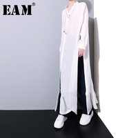 [EAM] 2019 Spring Casual Big Size Solid Color Spilt The Fork Single Breasted Loose Waist Women's Long Shirt Blouse K465