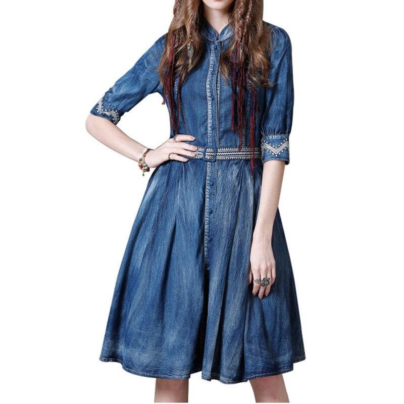 A Blue Stand Pockest Mode Printemps Nouveau Commune 2019 Genou Cowboy Manches Denim Pour Aa269 ligne Cou ewq Fendue Demi longueur Robe Femmes fwY1nq