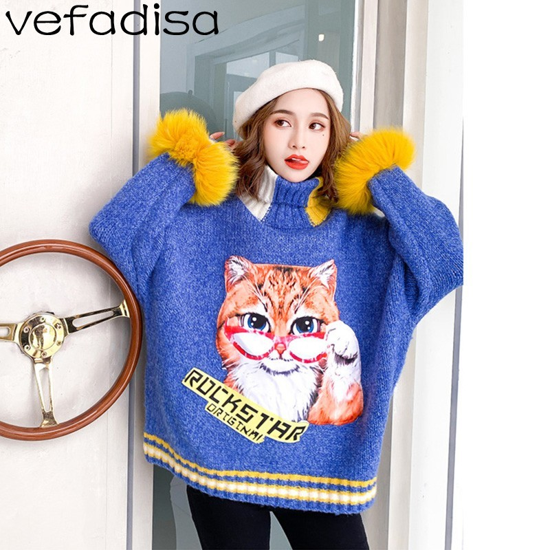 Cat Fur Sweater: Aliexpress.com : Buy Vefadisa Winter Cartoon Cat Sweater