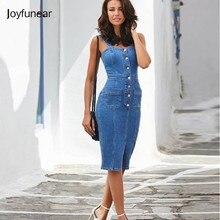 de241a1ce5 Joyfunear Backless Bodycon Midi Dress Women Summer Vestidos 2019 New Pocket  Button Jeans Dress Sexy Split