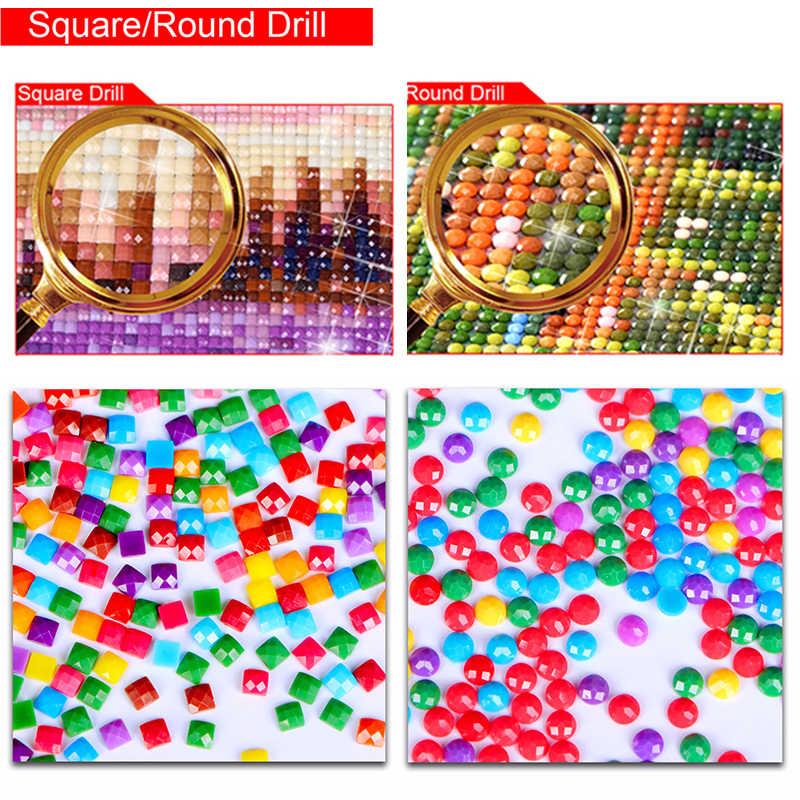5D DIY เพชรภาพวาดธรรมชาติเต็มรูปแบบเจาะเพชรเย็บปักถักร้อยภาพ Rhinestone Mosaic Decor บ้าน